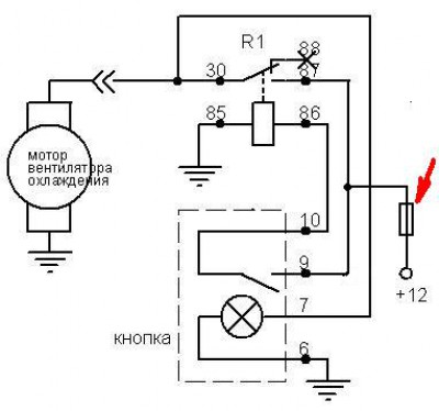 Вариант схемы, которая полностью дублирует силовую цепь вентилятора...